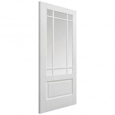 Internal White Primed Downham Door with Clear Bevelled Glass