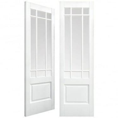Internal White Primed Downham Pair Door with Clear Bevelled Glass