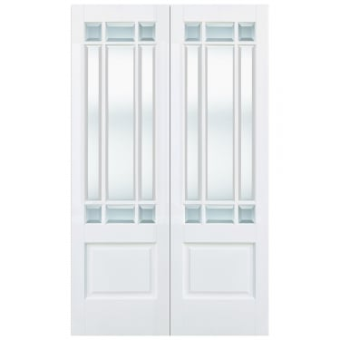 Internal White Primed Downham Pair Doors with Clear Bevelled Glass