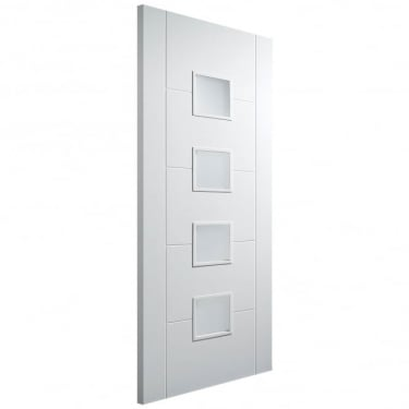 Internal White Primed Florida 4 Light Frosted Glazed Semi-Solid Door