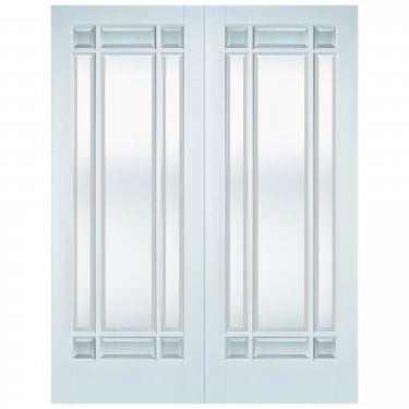 Internal White Primed Manhattan 18L Pair Door with Clear Bevelled Glass (WFPRSMANCG)