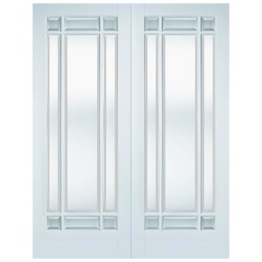 Internal White Primed Manhattan Pair Doors with Clear Bevelled Glass