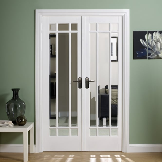 LPD Internal White Primed Manhattan W4 Room Divider With Clear Bevelled Glazing