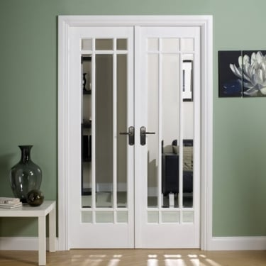 Internal White Primed Manhattan W4 Room Divider With Clear Bevelled Glazing