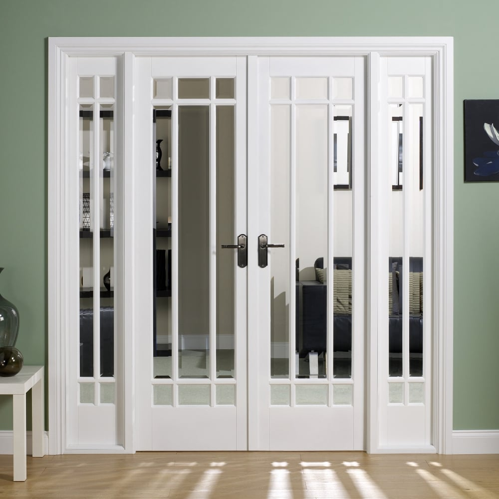Lpd manhattan white primed clear bevelled glass w6 internal room divider door leader doors - Internal room dividing doors ...