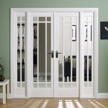 LPD Doors Internal White Primed Manhattan W6 Room Divider With Clear Bevelled Glazing