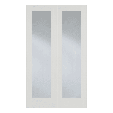 Internal White Primed Pattern 20 2L Pair Door with Clear Glass (WFPRS20G)
