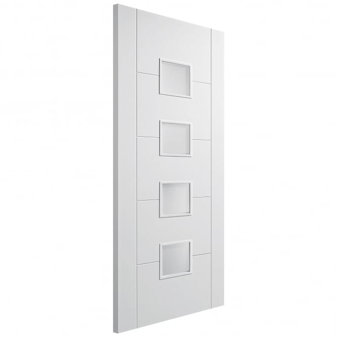 LPD Doors Internal White Primed Solid Core Frosted 4L Vancouver Door