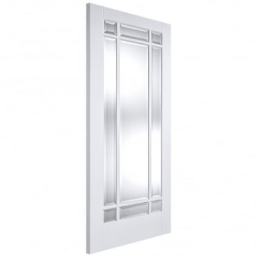 LPD Internal White Primed Solid Core Manhattan Door with Clear Bevelled Glass