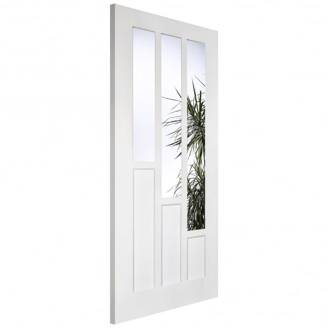 LPD Internal White Primed Solid Coventry 3L Door With Clear Glass