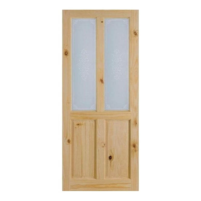 LPD Doors Richmond Unfinished Internal Knotty Pine Door with Campion Silkscreen Glass