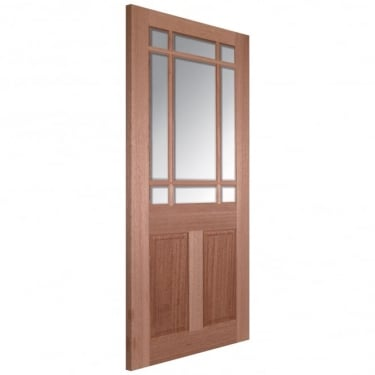 LPD Senator Downham Unfinished Internal Hardwood Door with Clear Bevelled Glass
