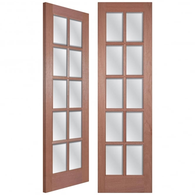 Senator GTPSA Unfinished Internal Hardwood Pair Door with Clear Bevelled Glass