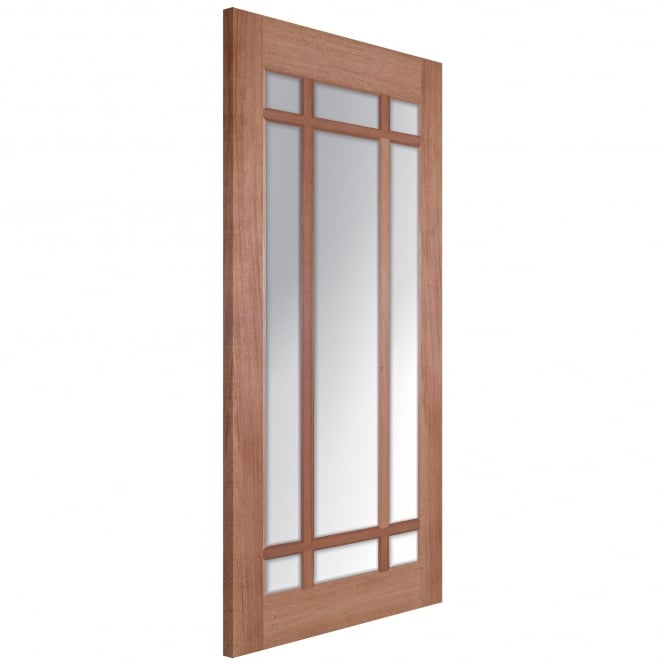 LPD Senator Lyon Unfinished Internal Hardwood Door with Clear Bevelled Glass