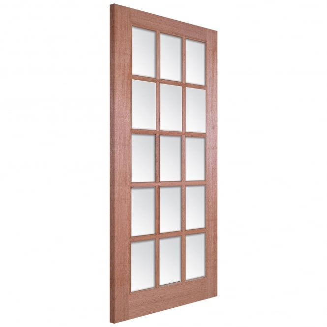 LPD Doors Senator SA Unfinished Internal Hardwood 15 Light Door with Clear Bevelled Glass