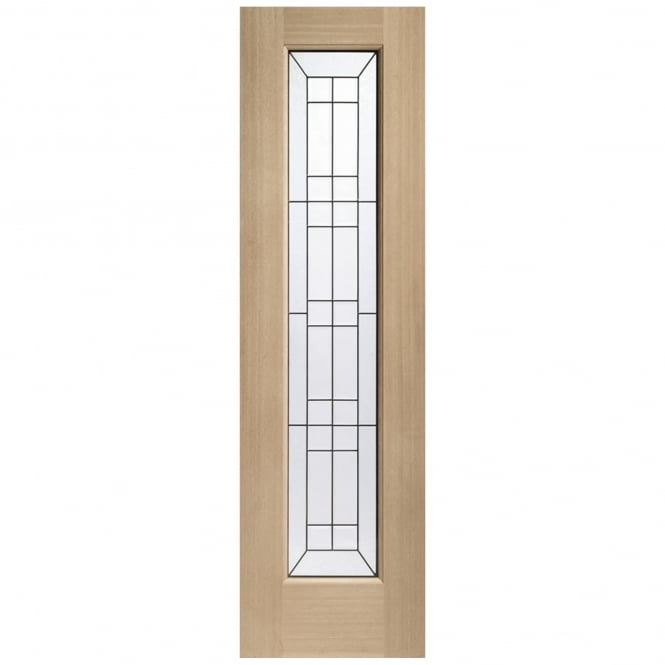 XL Joinery Malton Unfinished External Oak Sidelight With Triple Glass With Black Caming