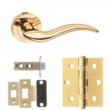Mediterranean Barcelona Lever On Round Rose 2.5'' Latch Handle Pack, Polished Brass (M86BP-2.5-LATCH-PACK)