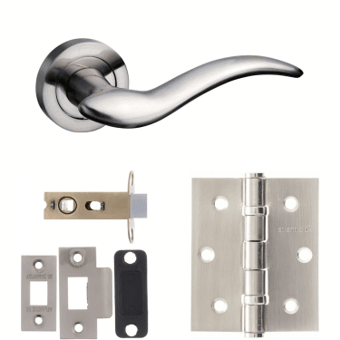 Mediterranean Barcelona Lever On Round Rose 2.5'' Latch Handle Pack, Satin Nickel (M86SN-2.5-LATCH-PACK)