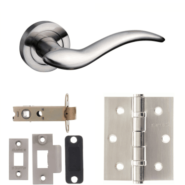 Mediterranean Barcelona Lever On Round Rose 3'' Latch Handle Pack, Satin Nickel (M86SN-3-LATCH-PACK)
