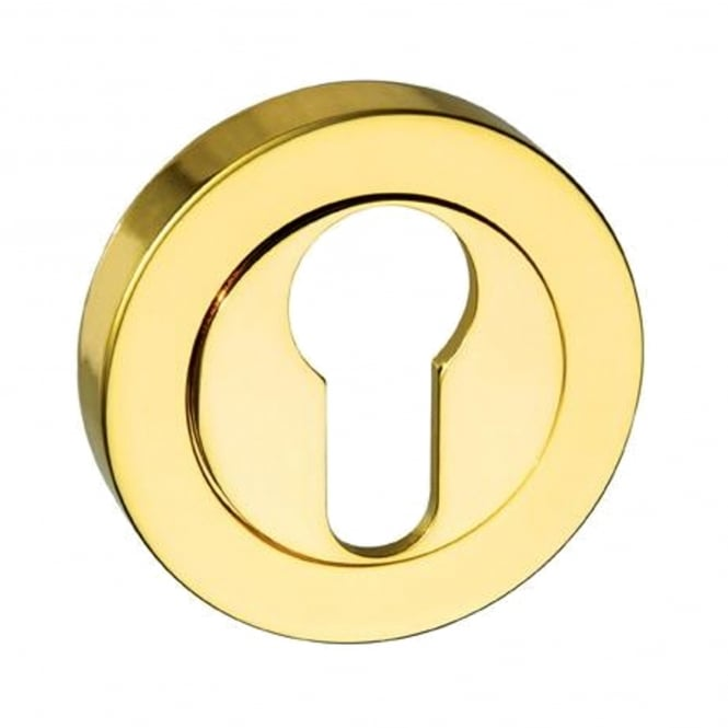 Atlantic Handles Mediterranean Euro Escutcheon On Round Rose - Brass Plated (MESCEBP)