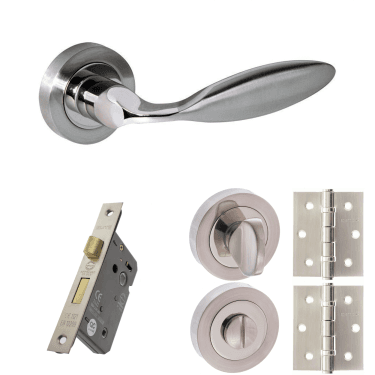 Mediterranean Ibiza Lever On Round Rose 2.5'' Bathroom Lock Handle Pack, Satin Nickel/Polished Nickel (M46SNNP-2.5-BATHROOM-LOCK-PACK)