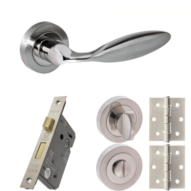 Mediterranean Ibiza Lever On Round Rose 3'' Bathroom Lock Handle Pack, Satin Nickel/Polished Nickel (M46SNNP-3-BATHROOM-LOCK-PACK)
