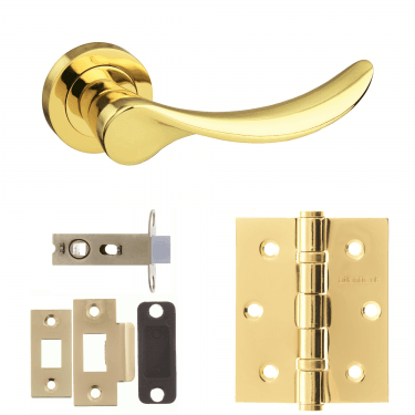 Mediterranean Malaga Lever On Round Rose 2.5'' Latch Handle Pack, Polished Brass (M27BP-2.5-LATCH-PACK)
