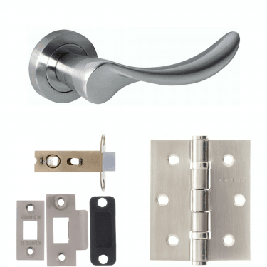 Mediterranean Malaga Lever On Round Rose 2.5'' Latch Handle Pack, Satin Nickel (M27SN-2.5-LATCH-PACK)