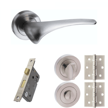 Mediterranean Marseille Lever On Round Rose 2.5'' Bathroom Lock Handle Pack, Satin Nickel (M70SN-2.5-BATHROOM-LOCK-PACK)