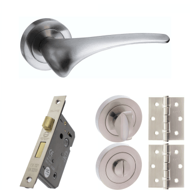 Mediterranean Marseille Lever On Round Rose 3'' Bathroom Lock Handle Pack, Satin Nickel (M70SN-3-BATHROOM-LOCK-PACK)