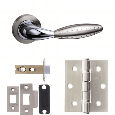 Mediterranean Oran Lever On Round Rose 2.5'' Latch Handle Pack, Satin Nickel/Polished Chrome (M73SNCP-2.5-LATCH-PACK)