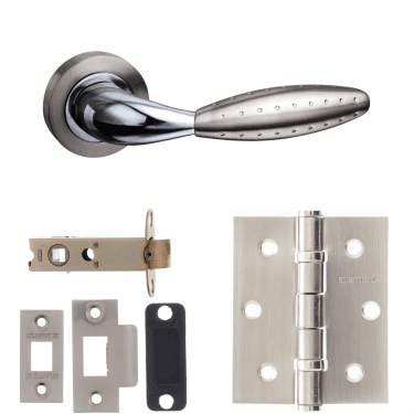 Mediterranean Oran Lever On Round Rose 3'' Latch Handle Pack, Satin Nickel/Polished Chrome (M73SNCP-3-LATCH-PACK)