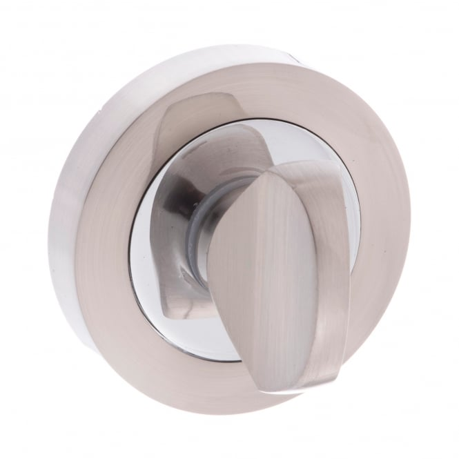 Atlantic Handles Mediterranean WC Turn and Release On Round Rose - Satin Nickel/Chrome Plated (MWCSNCP)
