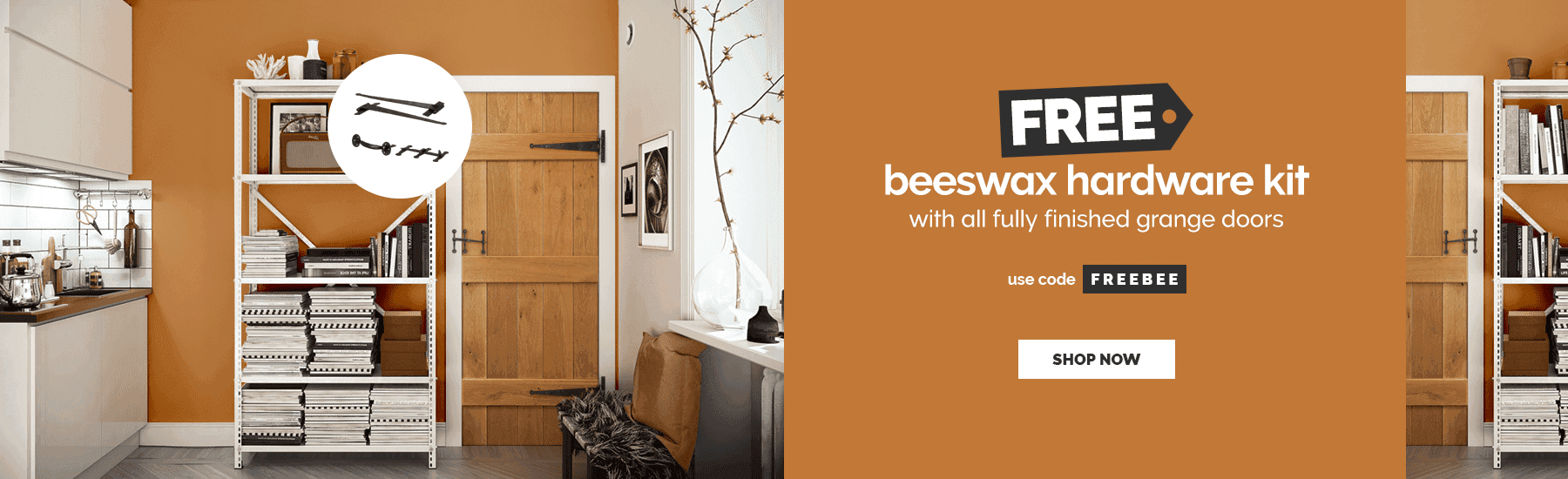 June - FREE beeswax hardware kit with fully finished grange doors