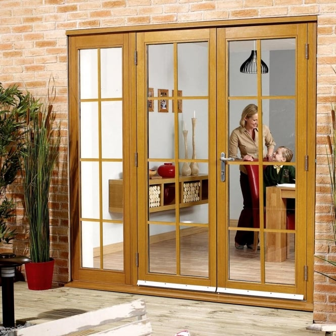 LPD NUVU External Pre-Finished Oak Astragals French Patio Doorset