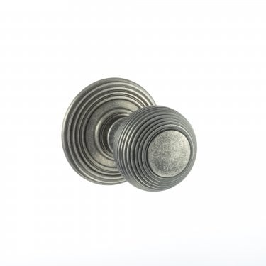 Old English 50mm Round Reeded Mortice Knob on Round Rose - Distressed Silver (OE50RMKDS)