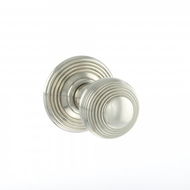 Old English 50mm Round Reeded Mortice Knob on Round Rose - Polished Nickel (OE50RMKPN)
