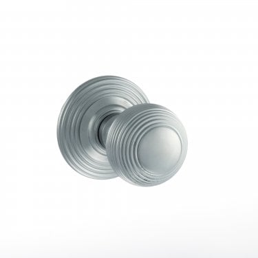 Old English 50mm Round Reeded Mortice Knob on Round Rose - Satin Chrome (OE50RMKSC)