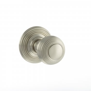 Old English 50mm Round Reeded Mortice Knob on Round Rose - Satin Nickel (OE50RMKSN)