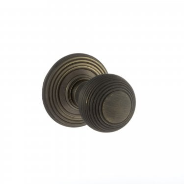 Old English 50mm Round Reeded Mortice Knob on Round Rose - Urban Bronze (OE50RMKUB)