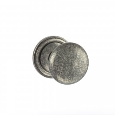 Old English 58mm Mushroom Mortice Knob on Round Rose - Distressed Silver (OE58MMKDS)
