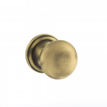 Old English 58mm Mushroom Mortice Knob on Round Rose - Matt Antique Brass (OE58MMKMAB)