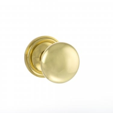 Old English 58mm Mushroom Mortice Knob on Round Rose - Polished Brass (OE58MMKPB)