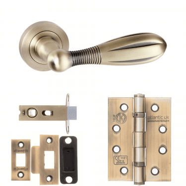 Old English Cambridge Lever On Round Rose 2.5'' Fire Rated Latch Handle Pack, Matt Antique Brass (OE175MAB-2.5-FIRE-RATED-LATCH-PACK)