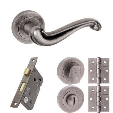 Old English Colchester Lever On Round Rose 2.5'' Bathroom Lock Handle Pack, Distressed Silver (OE177DS-2.5-BATHROOM-LOCK-PACK)