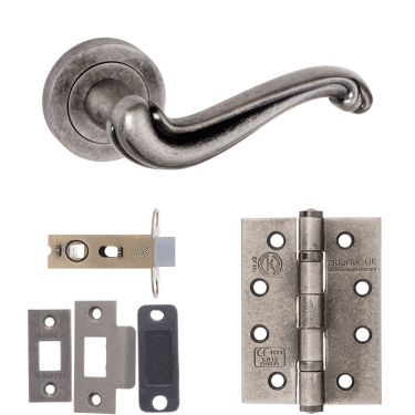 Old English Colchester Lever On Round Rose 2.5'' Fire Rated Latch Handle Pack, Distressed Silver (OE177DS-2.5-FIRE-RATED-LATCH-PACK)