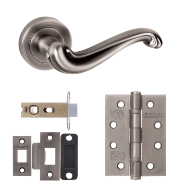 Old English Colchester Lever On Round Rose 2.5'' Fire Rated Latch Handle Pack, Matt Gun Metal (OE177MBN-2.5-FIRE-RATED-LATCH-PACK)
