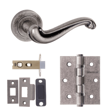 Old English Colchester Lever On Round Rose 2.5'' Latch Handle Pack, Distressed Silver (OE177DS-2.5-LATCH-PACK)