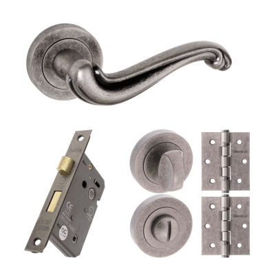 Old English Colchester Lever On Round Rose 3'' Bathroom Lock Handle Pack, Distressed Silver (OE177DS-3-BATHROOM-LOCK-PACK)