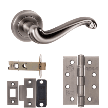 Old English Colchester Lever On Round Rose 3'' Fire Rated Latch Handle Pack, Matt Gun Metal (OE177MBN-3-FIRE-RATED-LATCH-PACK)
